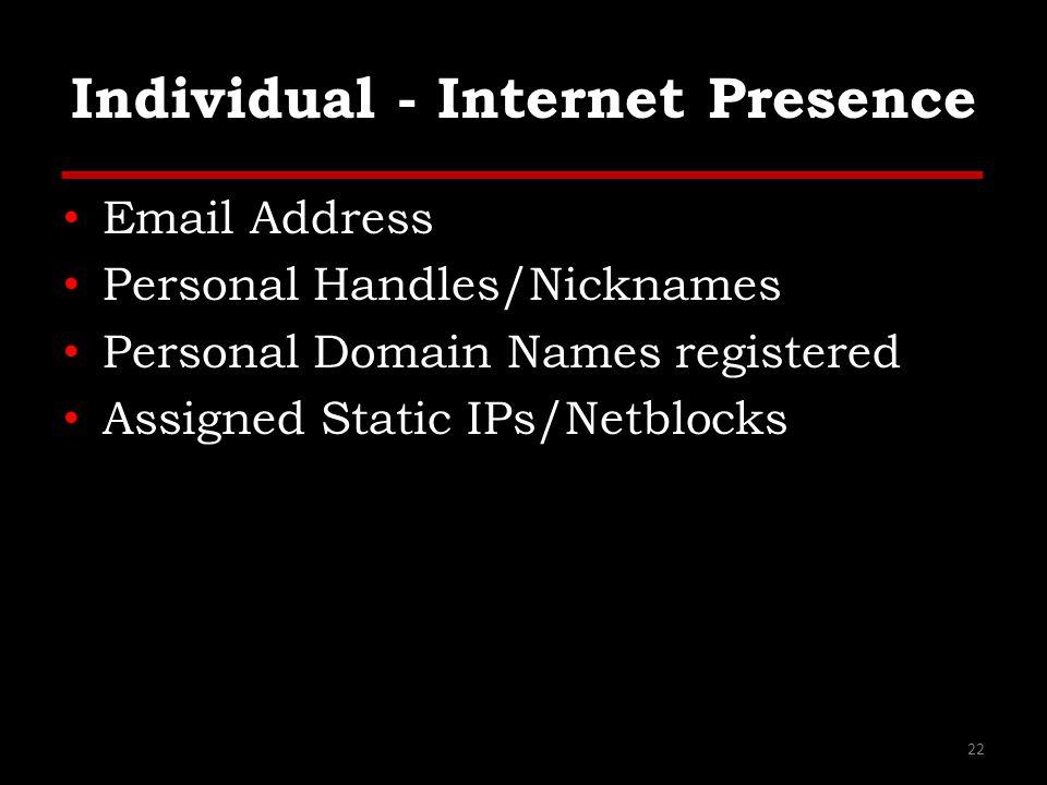 Individual - Internet Presence