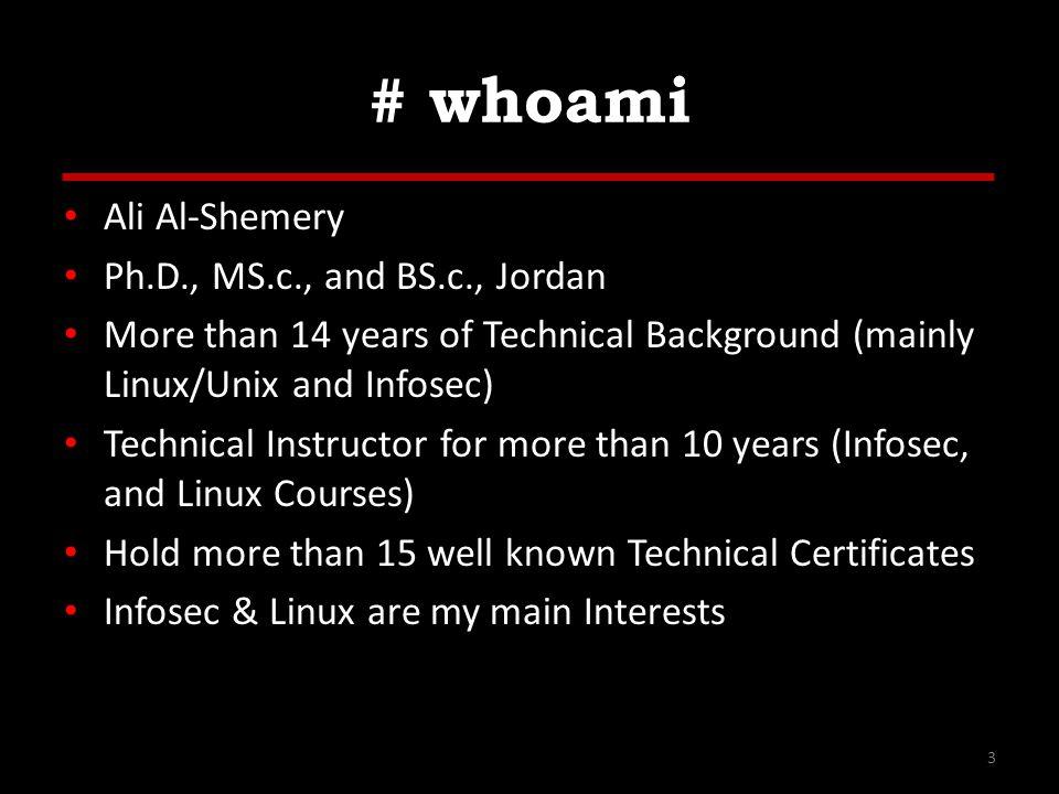 # whoami Ali Al-Shemery Ph.D., MS.c., and BS.c., Jordan