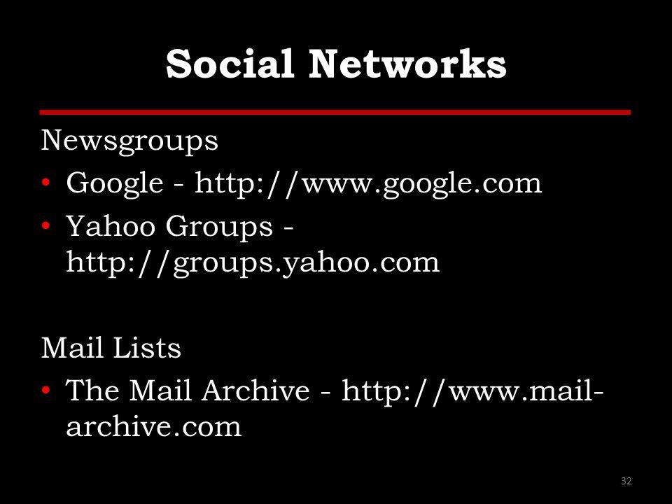 Social Networks Newsgroups Google - http://www.google.com