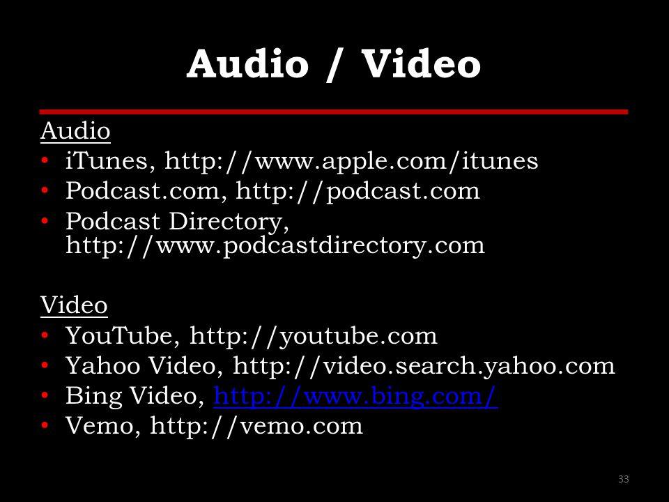 Audio / Video Audio iTunes, http://www.apple.com/itunes