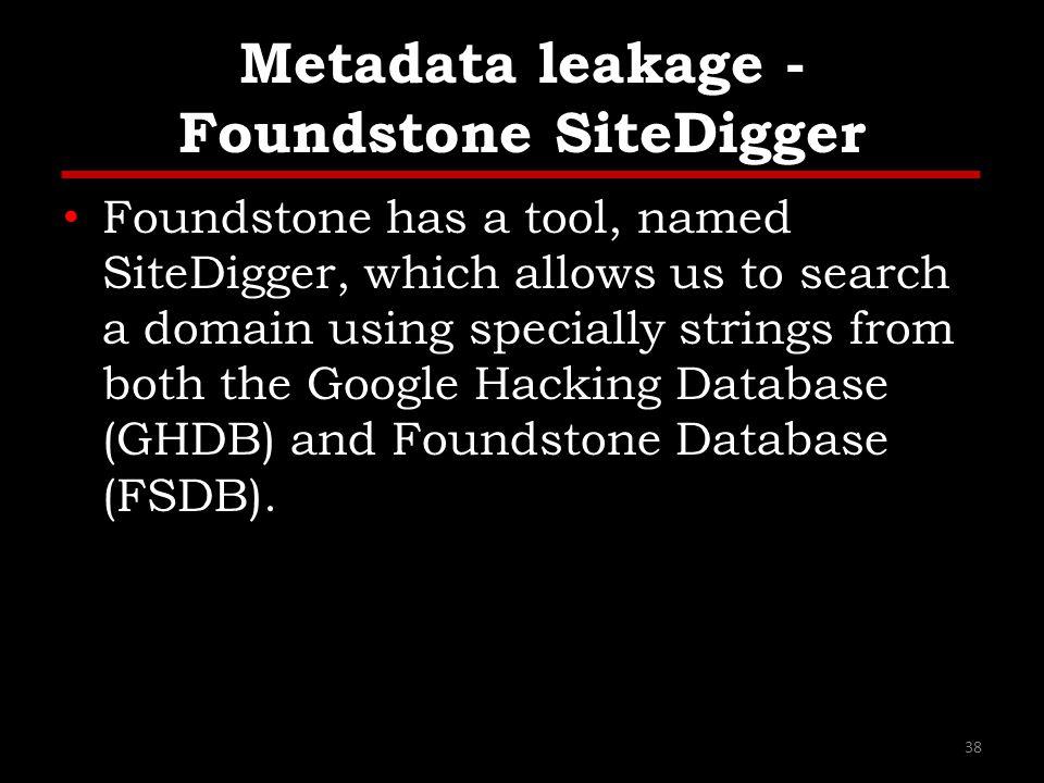 Metadata leakage - Foundstone SiteDigger