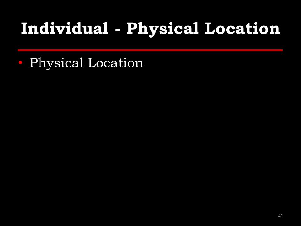 Individual - Physical Location