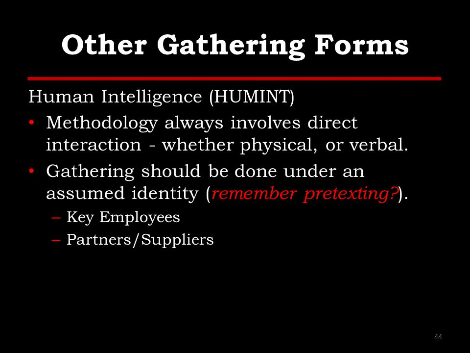 Other Gathering Forms Human Intelligence (HUMINT)