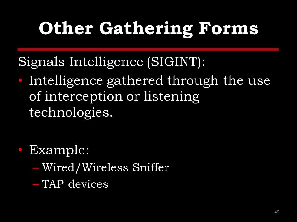 Other Gathering Forms Signals Intelligence (SIGINT):