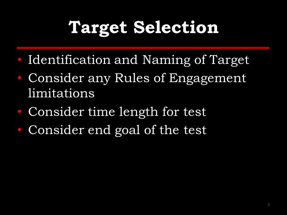 Target Selection Identification and Naming of Target