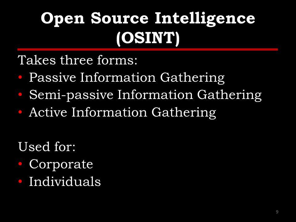 Open Source Intelligence (OSINT)