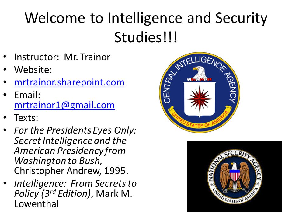 Welcome to Intelligence and Security Studies!!!