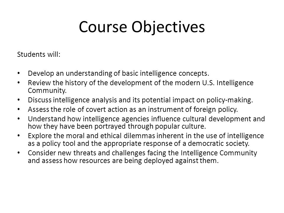 Course Objectives Students will: