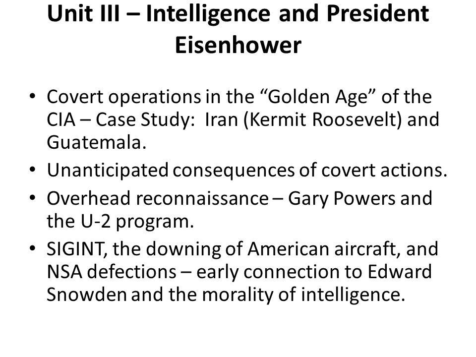 Unit III – Intelligence and President Eisenhower