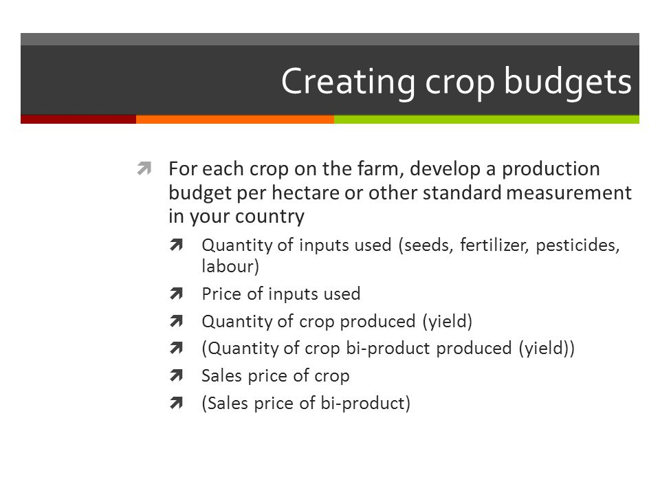 Creating crop budgets For each crop on the farm, develop a production budget per hectare or other standard measurement in your country.