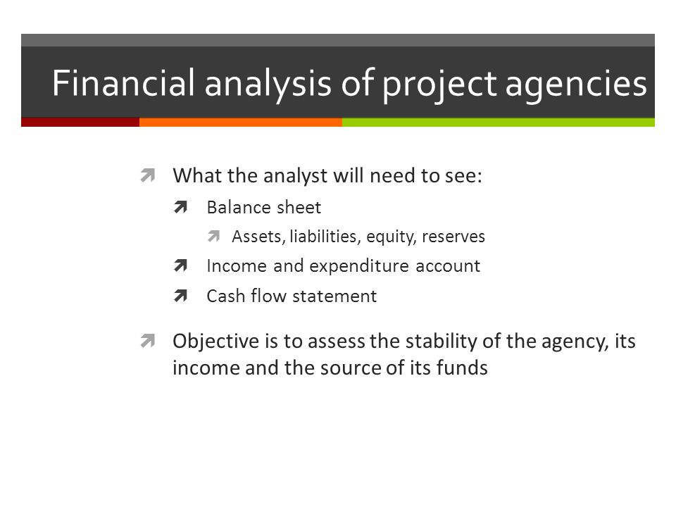 Financial analysis of project agencies