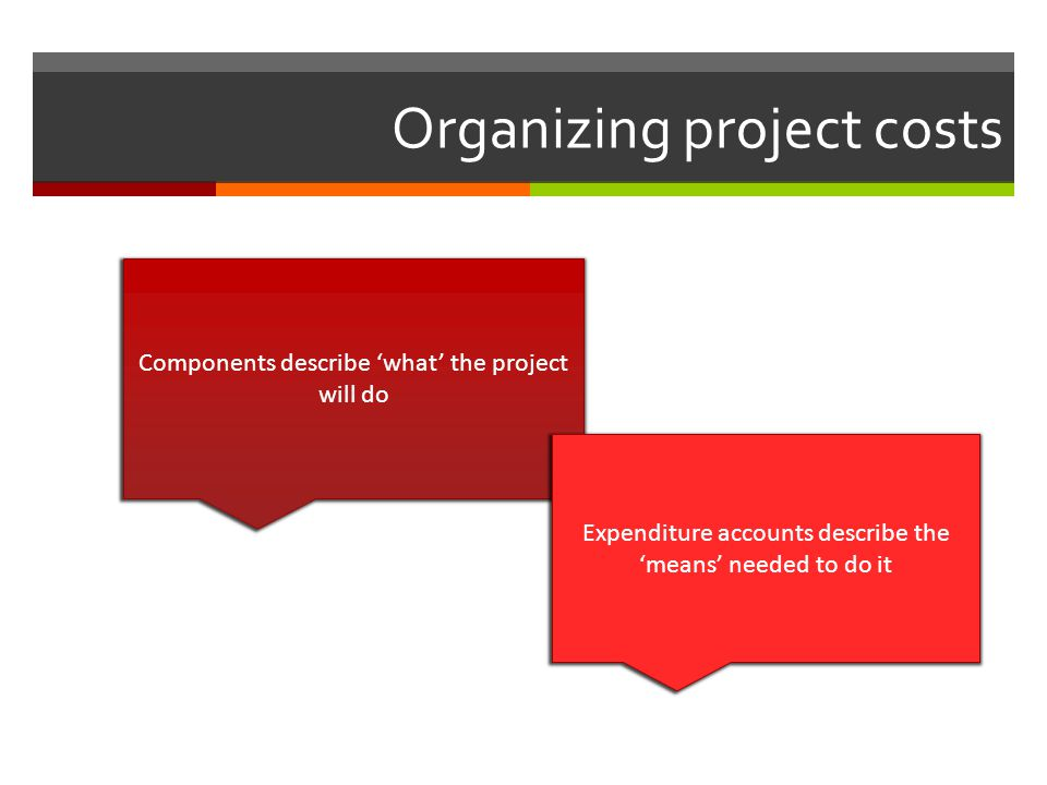 Organizing project costs