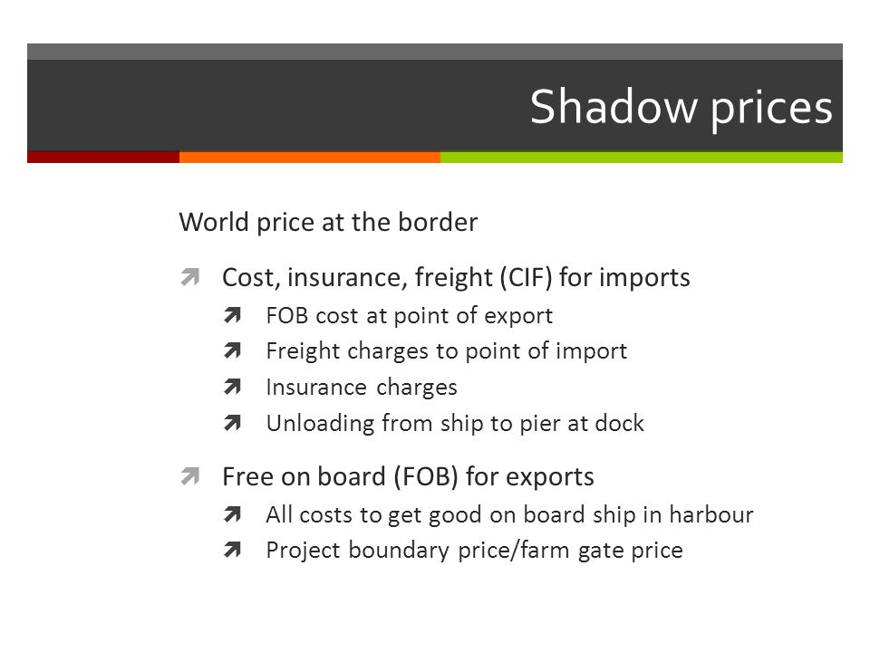 Shadow prices World price at the border