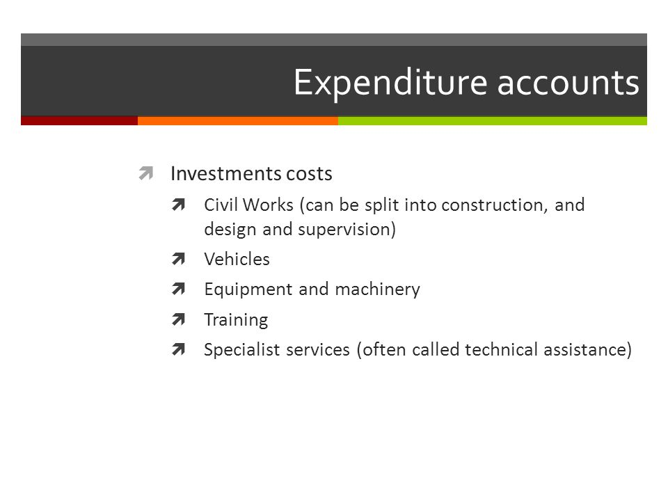 Expenditure accounts Investments costs