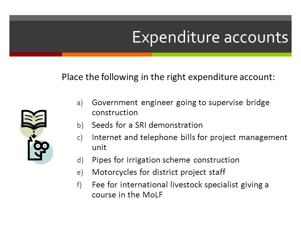 Expenditure accounts Place the following in the right expenditure account: Government engineer going to supervise bridge construction.