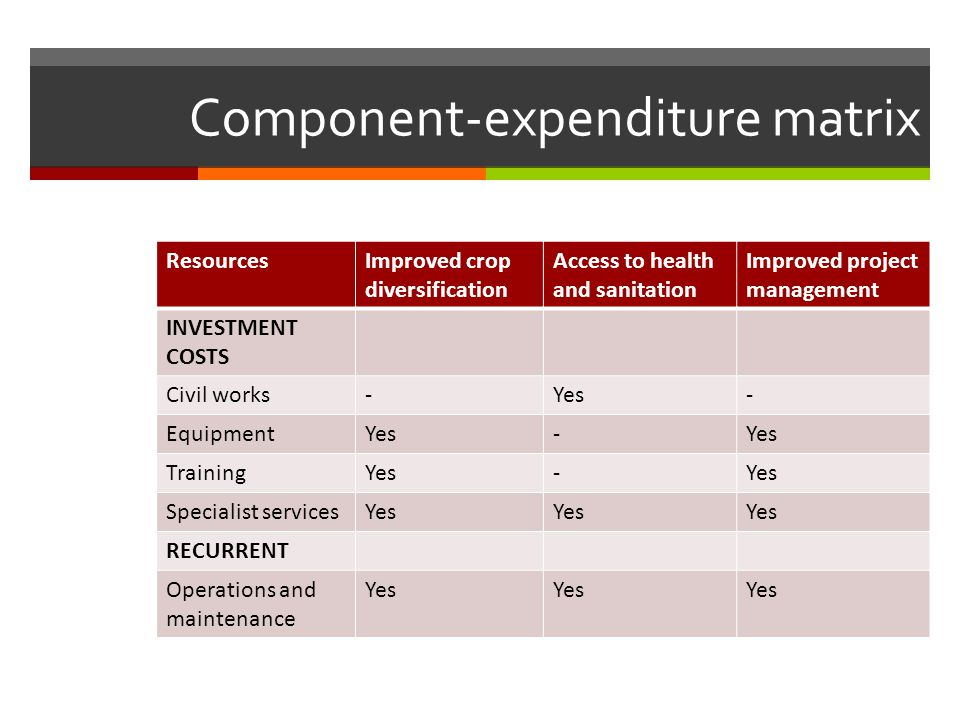 Component-expenditure matrix