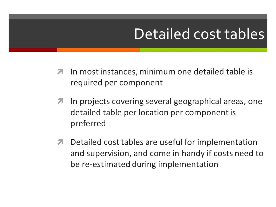Detailed cost tables In most instances, minimum one detailed table is required per component.