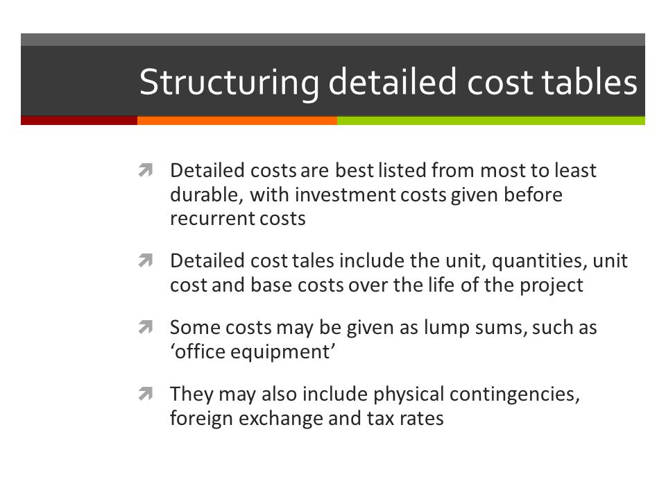 Structuring detailed cost tables