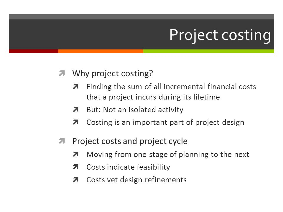 Project costing Why project costing Project costs and project cycle