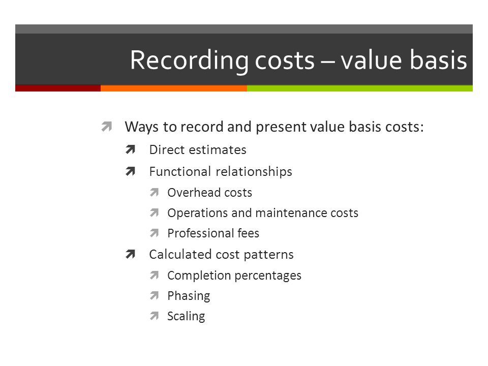 Recording costs – value basis