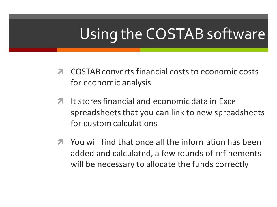 Using the COSTAB software