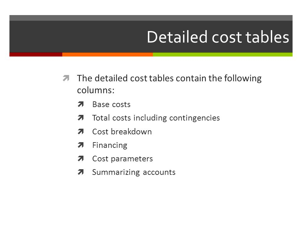 Detailed cost tables The detailed cost tables contain the following columns: Base costs. Total costs including contingencies.
