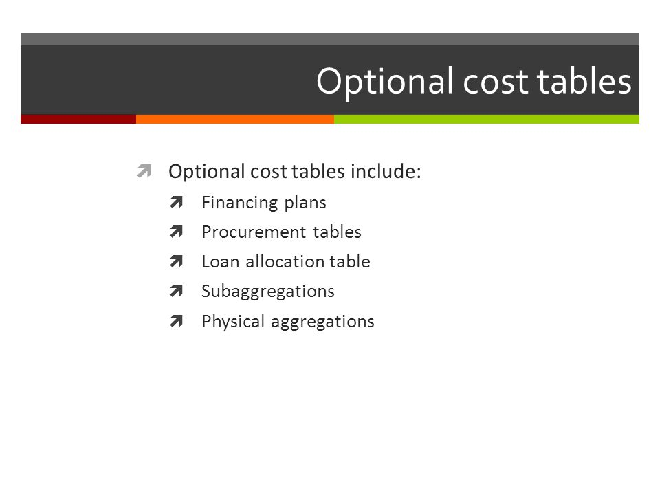 Optional cost tables Optional cost tables include: Financing plans