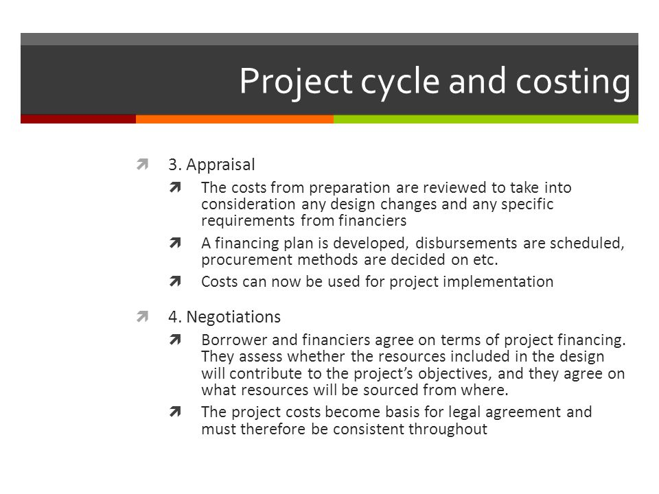 Project cycle and costing