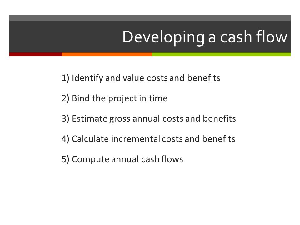 Developing a cash flow