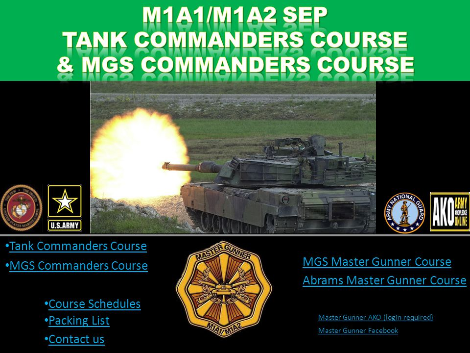 TANK COMMANDERS COURSE & MGS COMMANDERS COURSE