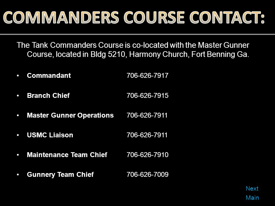 COMMANDERS COURSE CONTACT: