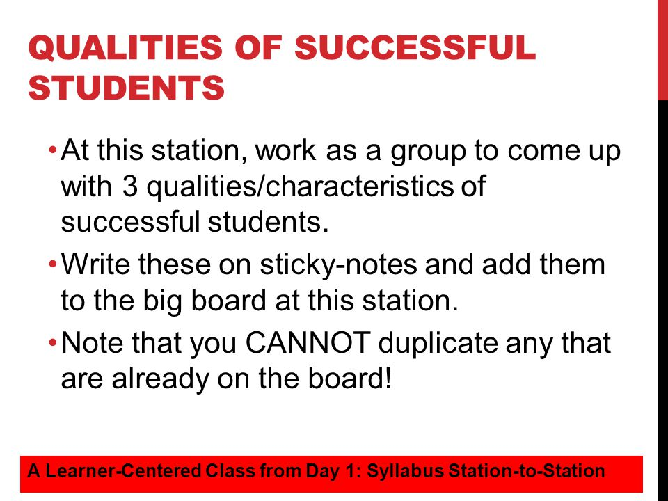 Qualities of successful students