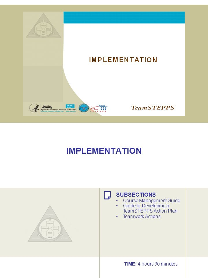 IMPLEMENTATION SUBSECTIONS