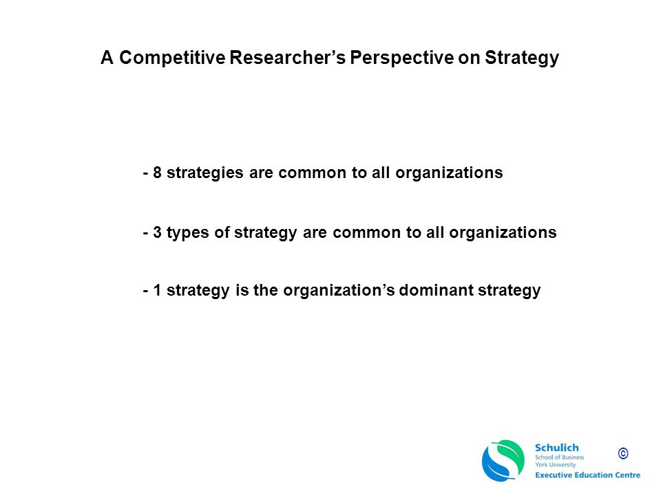 A Competitive Researcher's Perspective on Strategy