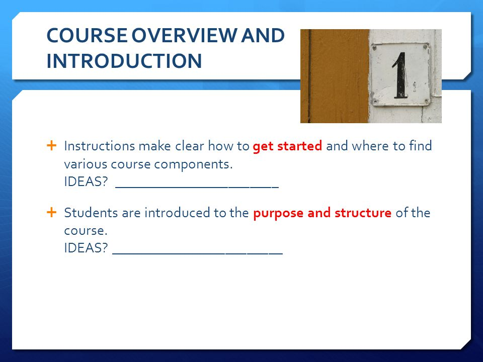 COURSE OVERVIEW AND INTRODUCTION