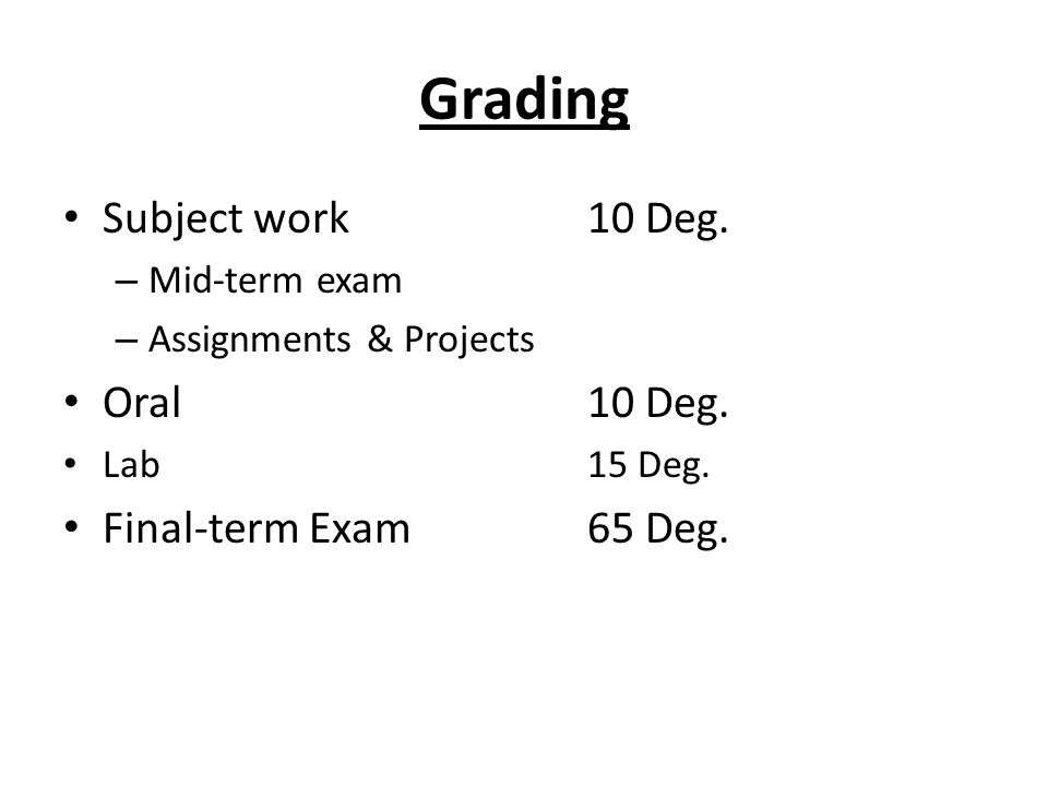 Grading Subject work 10 Deg. Oral 10 Deg. Final-term Exam 65 Deg.