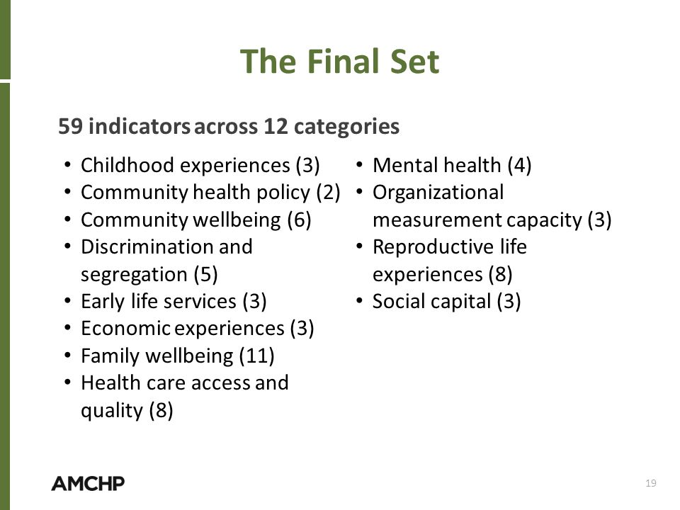 The Final Set 59 indicators across 12 categories