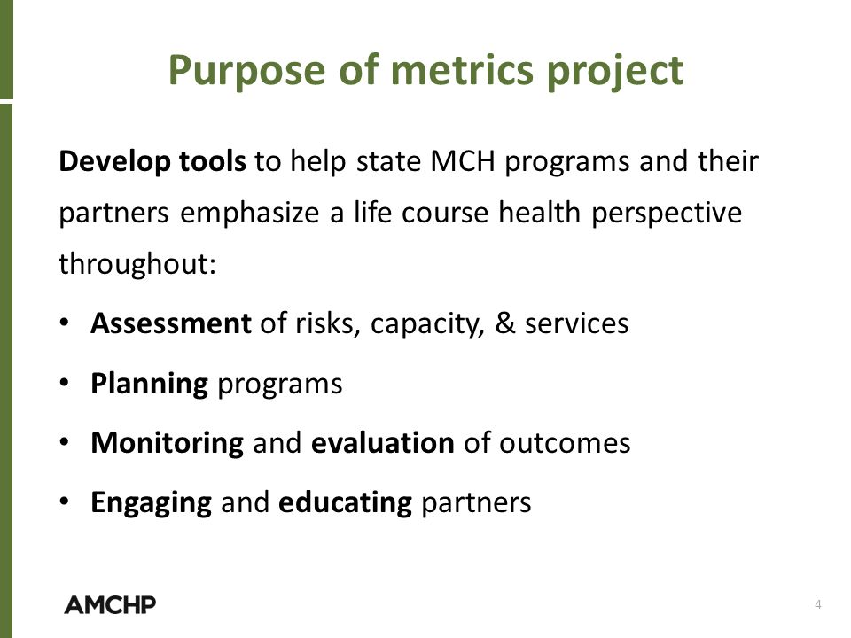 Purpose of metrics project