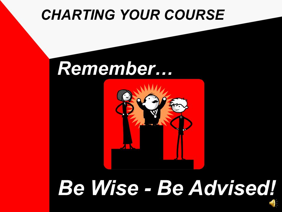 Be Wise - Be Advised! Remember… CHARTING YOUR COURSE