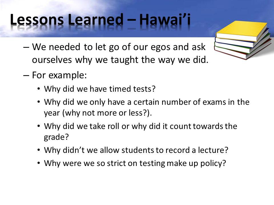 Lessons Learned – Hawai'i