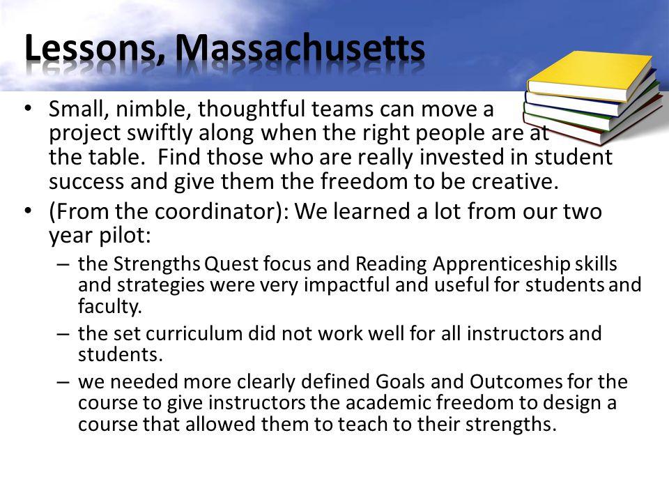 Lessons, Massachusetts