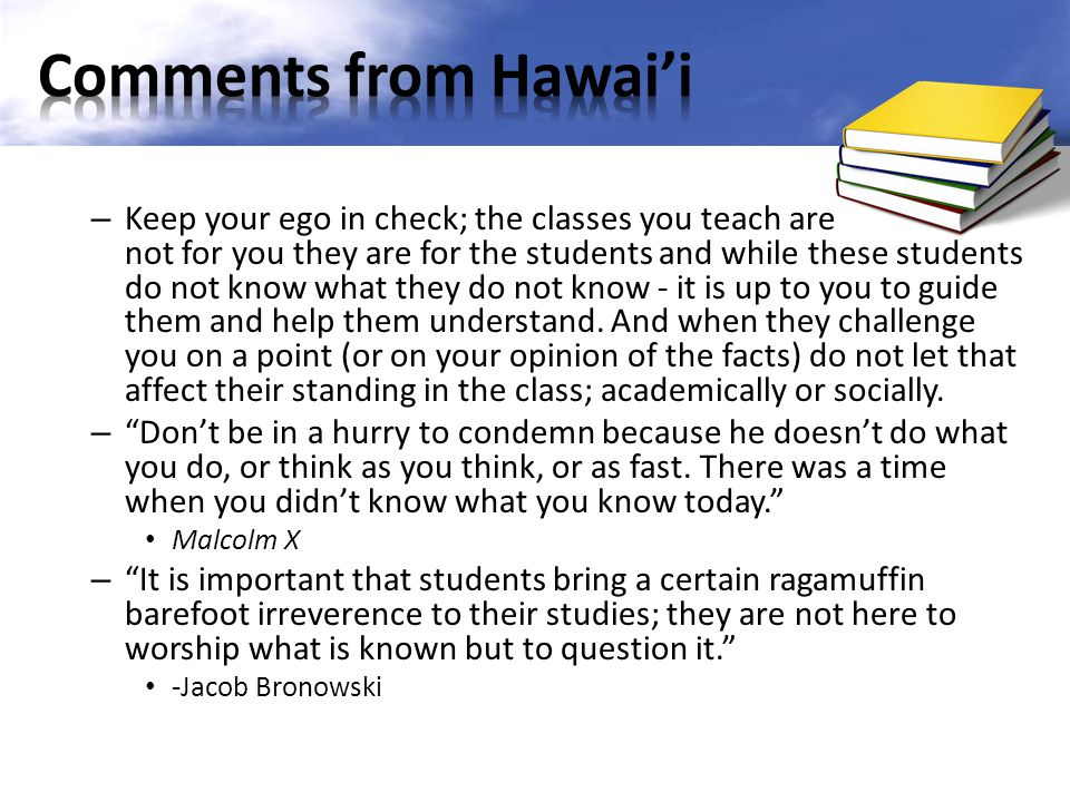 Comments from Hawai'i