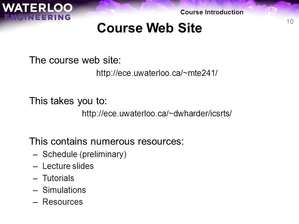 Course Web Site The course web site: This takes you to: