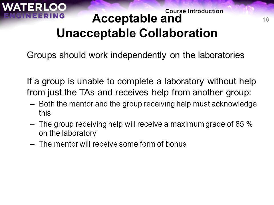 Acceptable and Unacceptable Collaboration