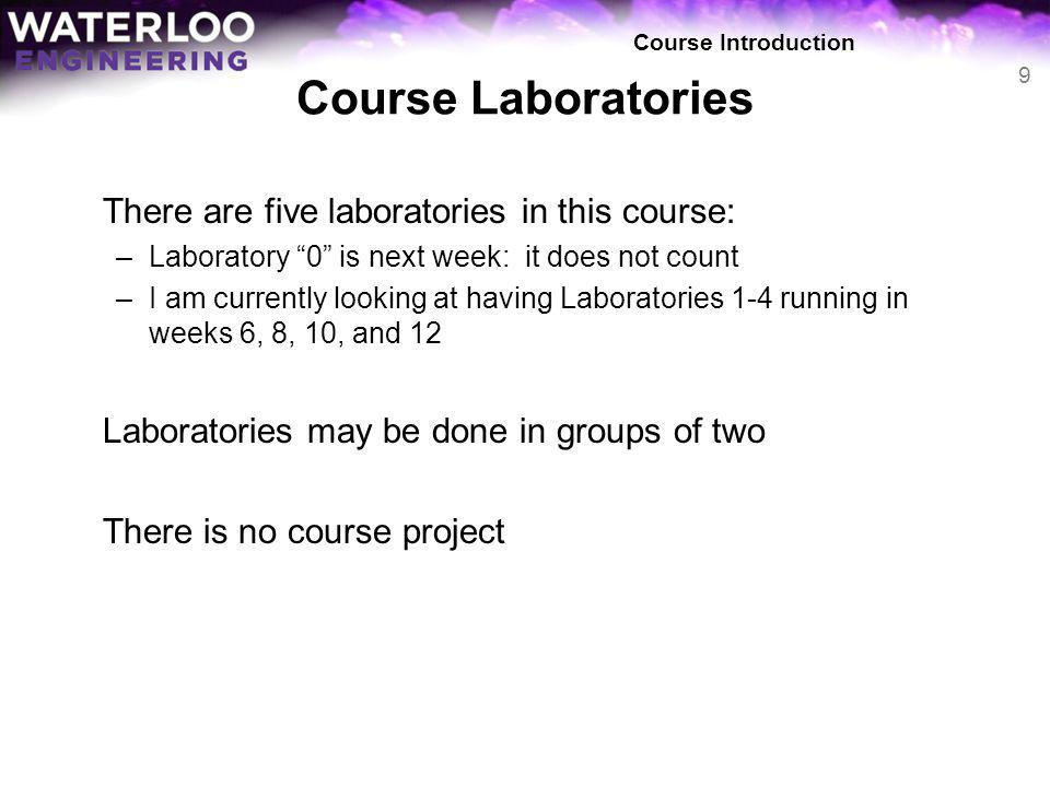 Course Laboratories There are five laboratories in this course: