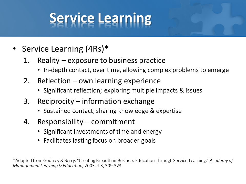 Service Learning Service Learning (4Rs)*