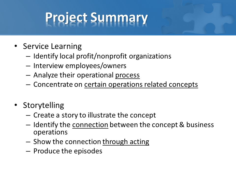 Project Summary Service Learning Storytelling