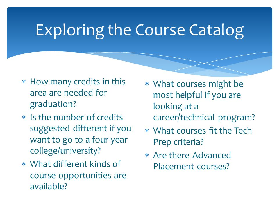 Exploring the Course Catalog