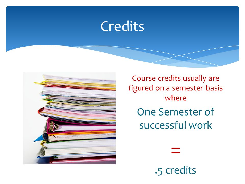 = Credits One Semester of successful work .5 credits