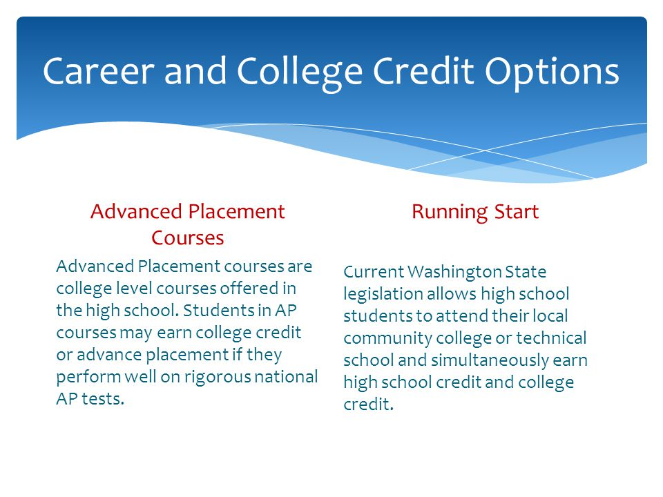 Career and College Credit Options